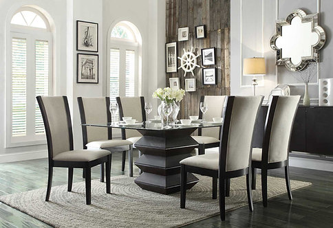 Havre Dining Room Set w/ Beige Chairs by Homelegance