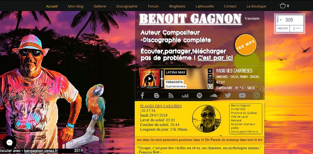 Entrée du site Benoit Gagnon auteur compositeur interprète