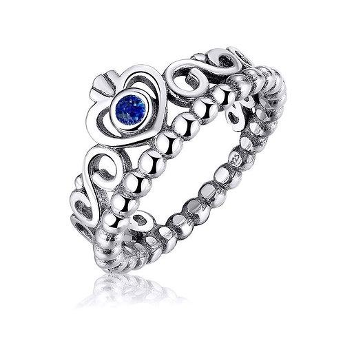 Anel Coroa Zircônia Azul - Prata 925