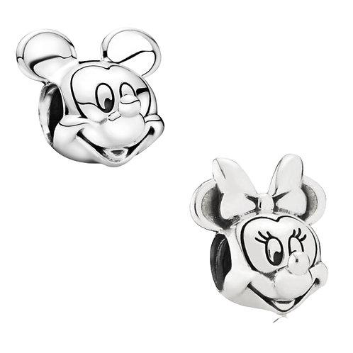Berloque Cabeça Mickey ou Minnie (Com logo) - Banhado