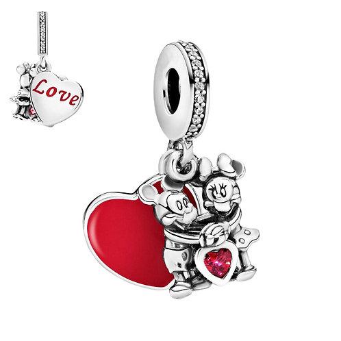 Berloque Mickey e Minnie com Amor - Prata 925