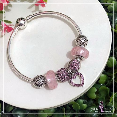 Bracelete Rígido Com Murano Rosa Fluorescente (com logo)