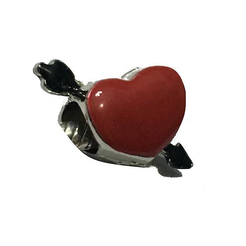 Berloque Coração Vermelho - Folheado