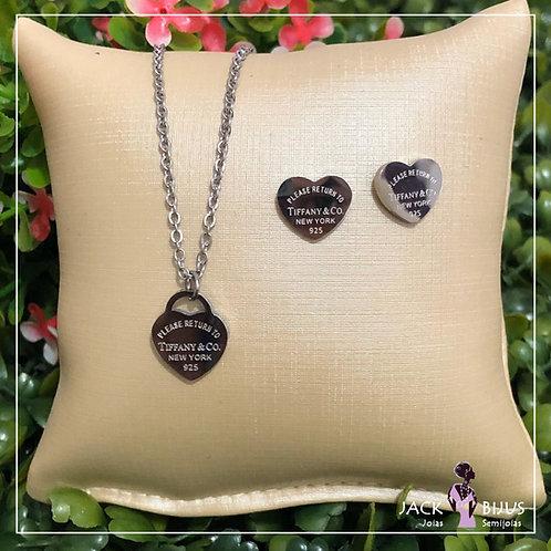 Colar Coração Simples ou Brinco Inspired Tiffany - Aço