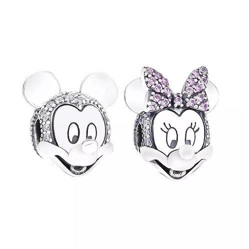 Berloque Cabeça Mickey ou Minnie Cravejados