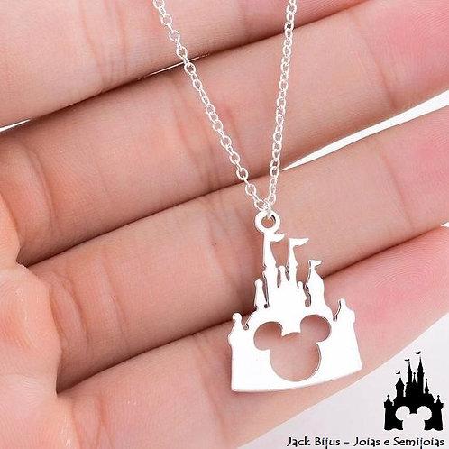 Colar Castelo Disney - Semijoia Banhada
