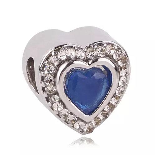 Berloque Coração Brilhante Azul
