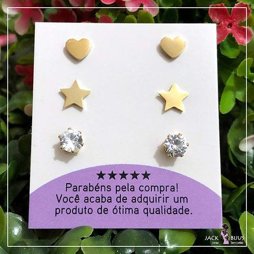 Trio de Brincos Coração e Estrela - Aço Inoxidável Dourado