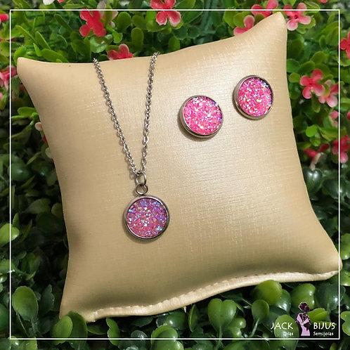 Conjunto Brilhante Rosa - Aço Inoxidável