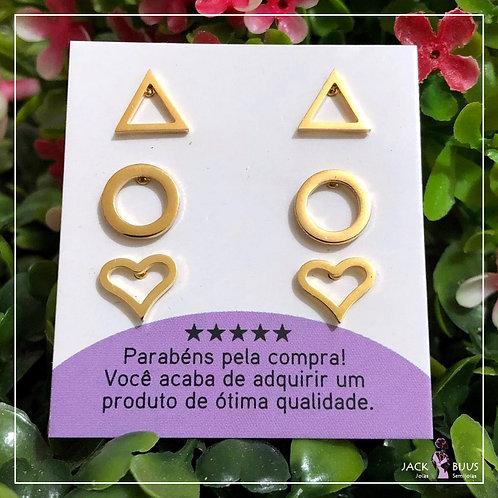Trio de Brincos Triangulo - Aço Inoxidável Dourado