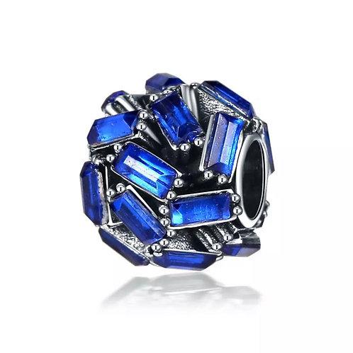 Berloque Separador Brilhante Azul - Banhado