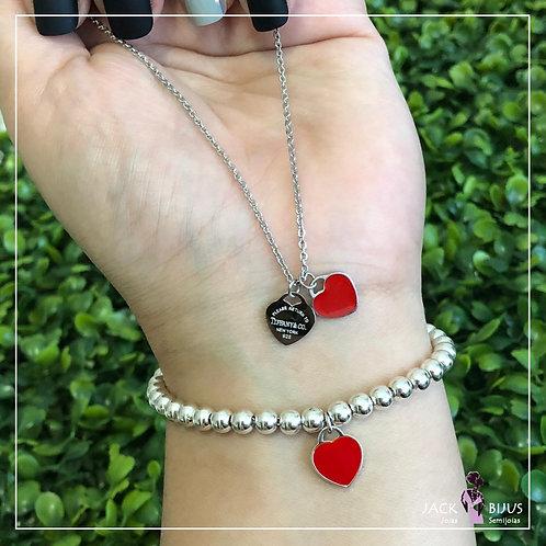 Colar Inspired Tiffany Vermelho - Aço Inoxidável