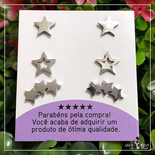 Trio de Brincos Estrelas - Aço Inoxidável