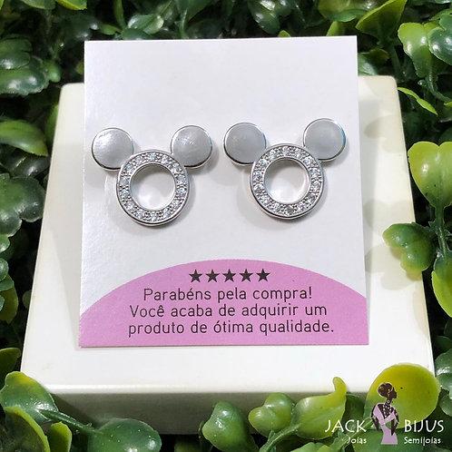 Brinco Mickey Zirconias Prata - Banhado