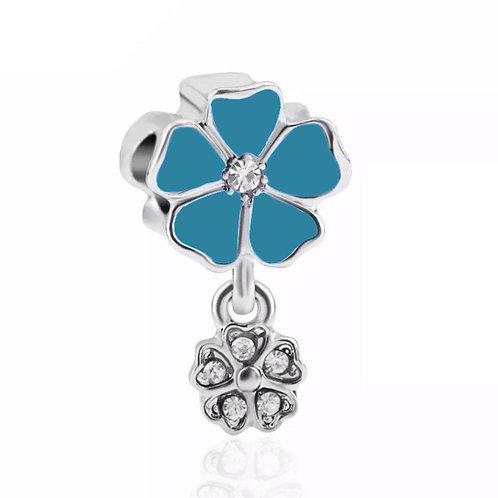 Berloque Flor Azul Esverdeada - Banhado