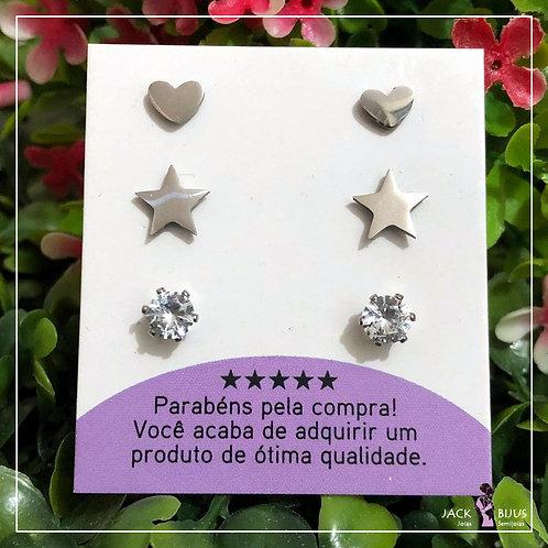 Trio de Brincos Coração e Estrela - Aço Inoxidável