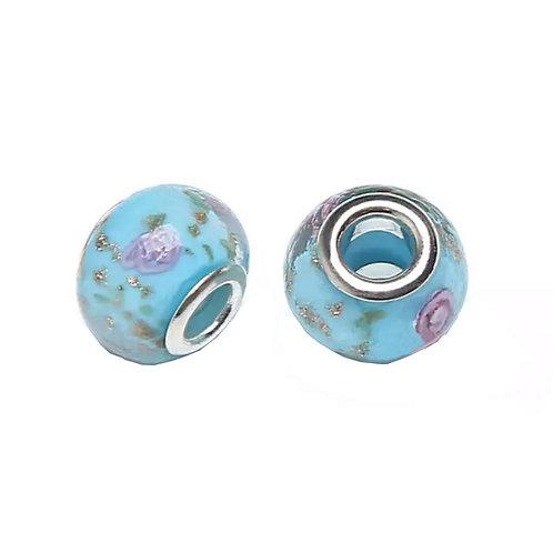 Murano Azul Com Flor Rosa - Banhado