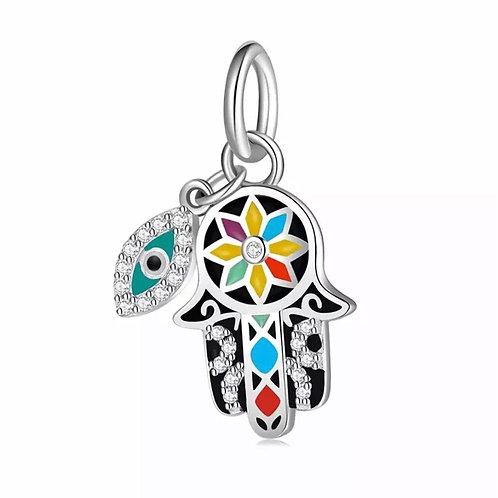 Berloque Mão de Fatima Colorida  com Olho grego  - Prata 925