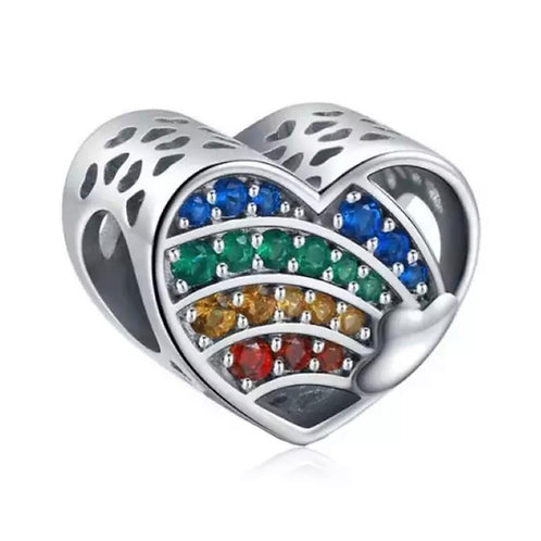 Berloque Coração Colorido - Prata 925