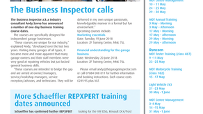 The Garage Inspector training courses announced