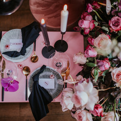 Pink Cecilia stationery suite table scape