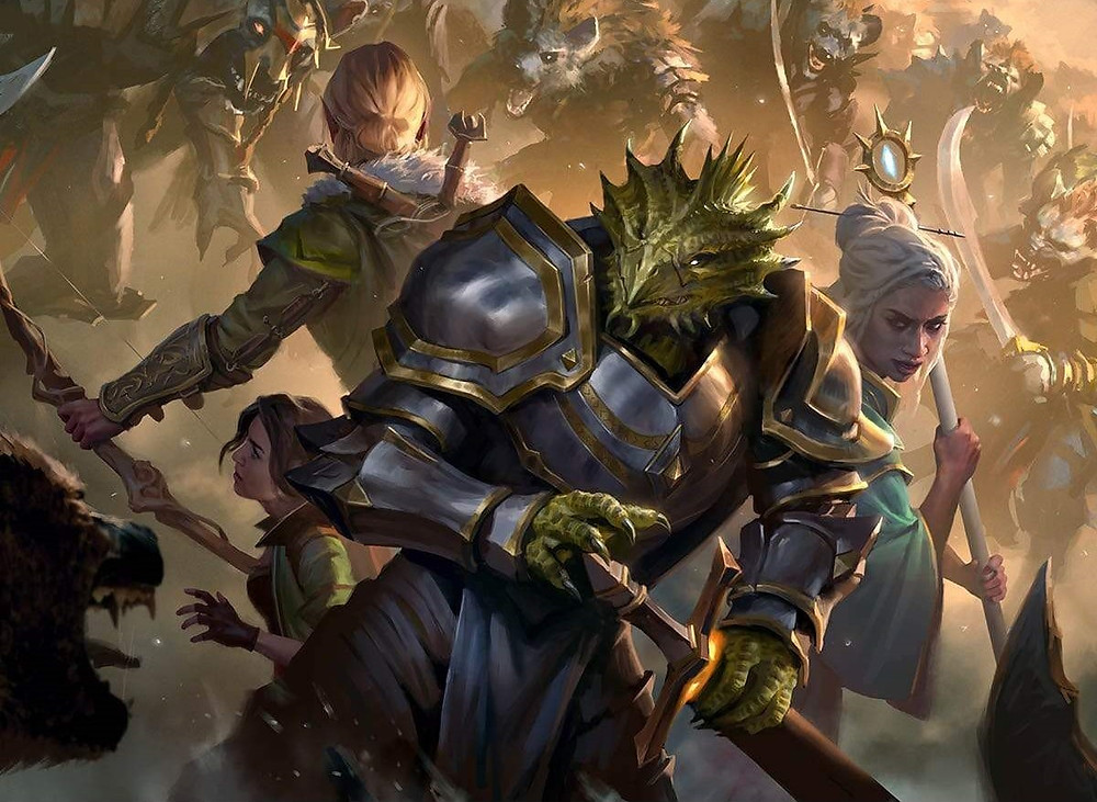 Adventures in the Forgotten Realms art 3 adventurers surrounded by gnolls