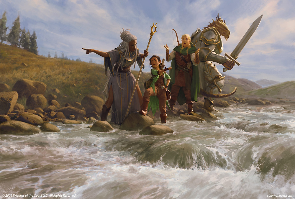 Adventures the Forgotten realms art 4 adventurers crossing a river