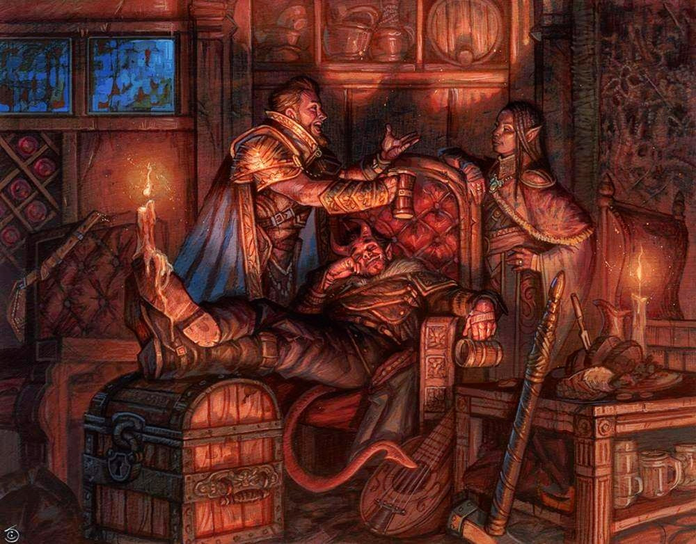 Art from Adventures in the forgotten realms three characters talking