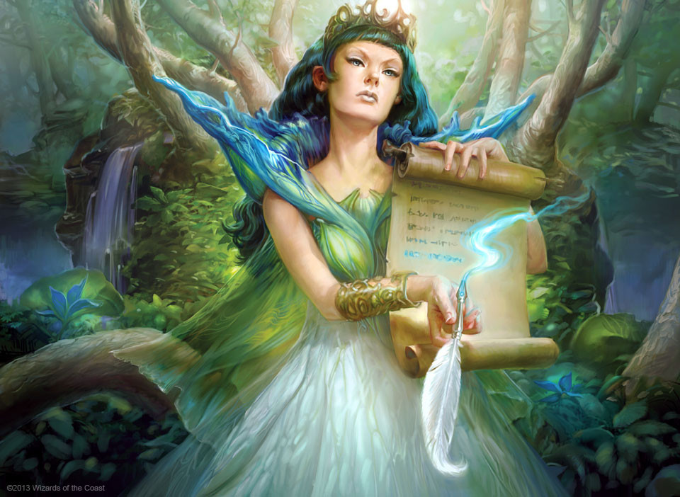 Bant Woman holding scroll in forrest MTG art