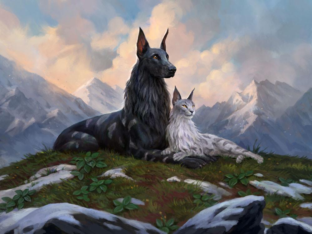 dog and cat mtg art