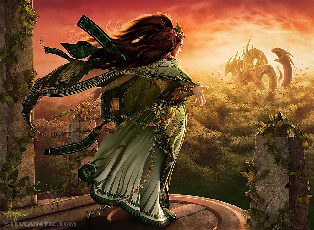 Druid looking at Leviathan Naya MTG art