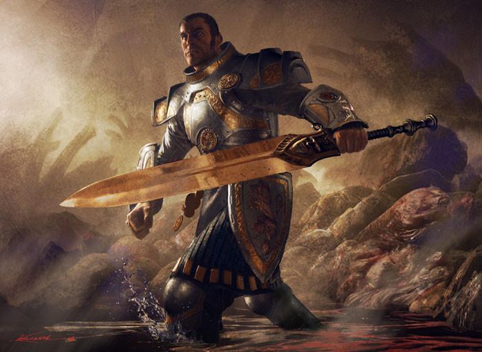 Bant Knight in swamp MTG art