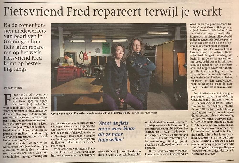 FRED in Dagblad van het Noorden 21 juli 2017