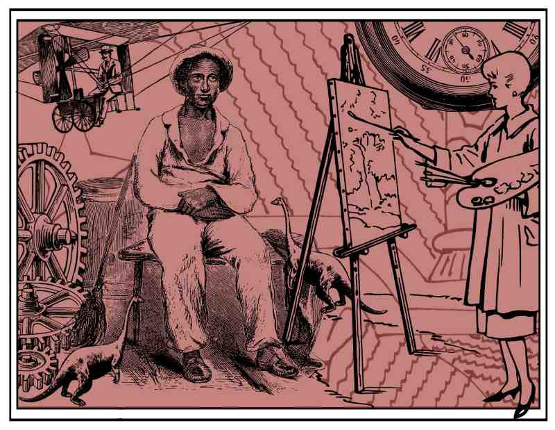 A female artist paints Solomon Northrup, whilst surrounded by an ecclectic mixture of cogs, miniature dinosaurs and a giant steampunk pocket watch; an early aviator flies past in the background. Black line drawings and etchings on a faded red background.