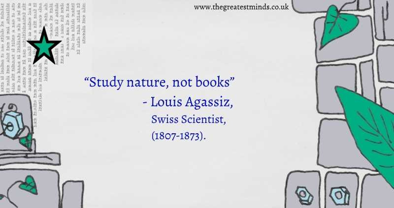 "Quote on green, grey and blue background with leaves, stars, cogs and stone slabs-"" Quote= ""Sutdy Nature, Not Books""- Louis Agassiz, Swiss Scientist, (1807-1873)"