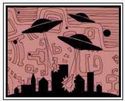 Cartoonish line art and sihouettes of flying saucers attacking sky-scrapers ; pale red background.