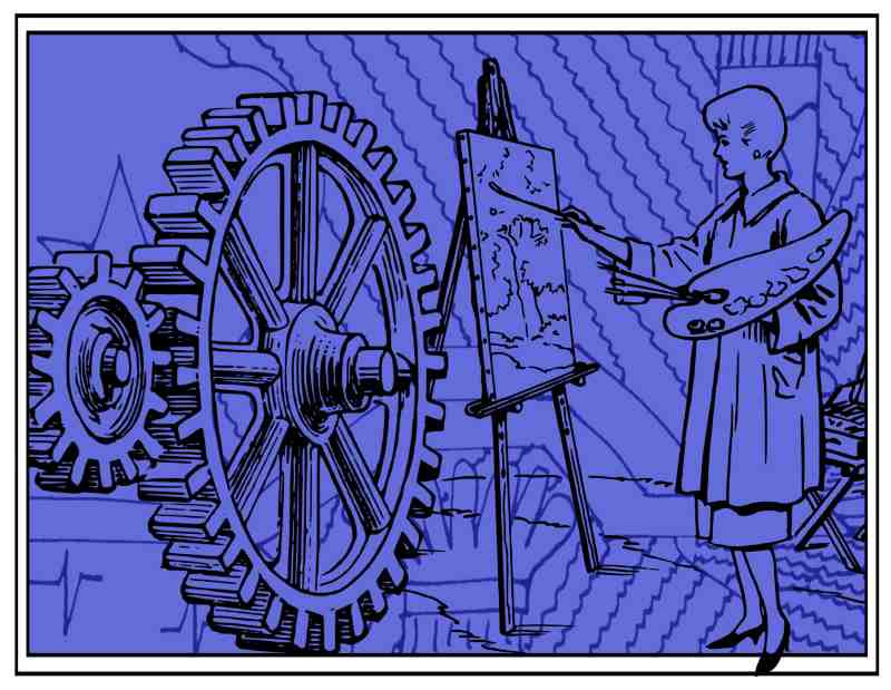 Dark blue image, busy background with coloumns, stars and patterns overlaid with female artist painting giant cog wheels at her easel. Cogs to left of picture