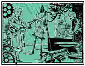 Green Steampunk/raypunk image of female artist at easel with her robot servant; both are surrounded by cogs and pine foliage. A distant industrial landscape can be seen through a window.