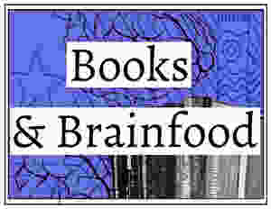 Ourlines of brains and a shelf of books on an ornamented strong blue background