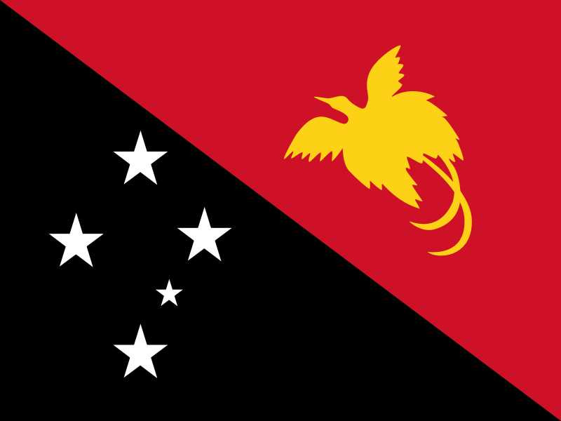 Flag of Papua New Guinea- black triangle with 5 stars and red triangle with golden silhouette of  Raggiana Bird of Paradise