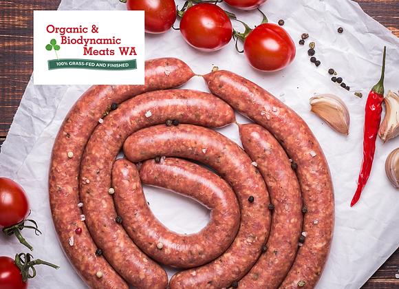 1kg Organic Lamb Paleo Sausages - Hot
