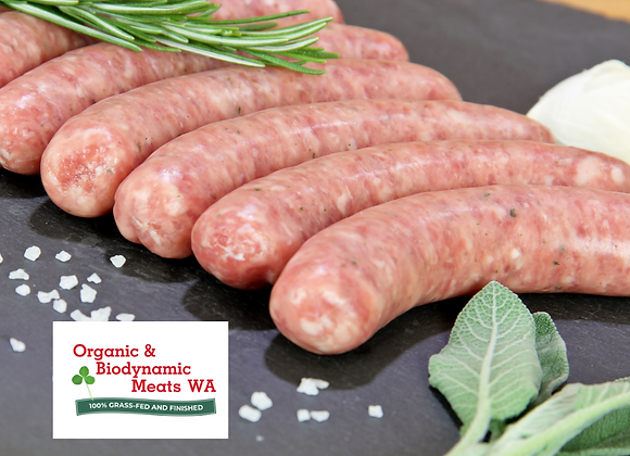 1kg Organic Beef Paleo Sausages - Hot