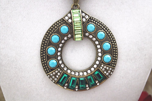 Blue Green Tribal Necklace