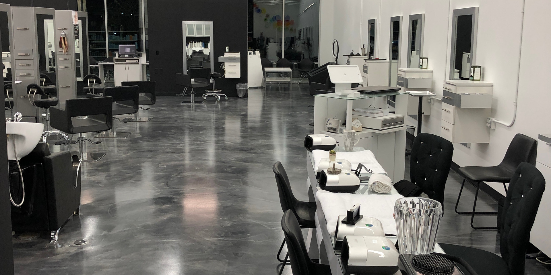Ocala's favorite Hair and Nail salon, manicure tables