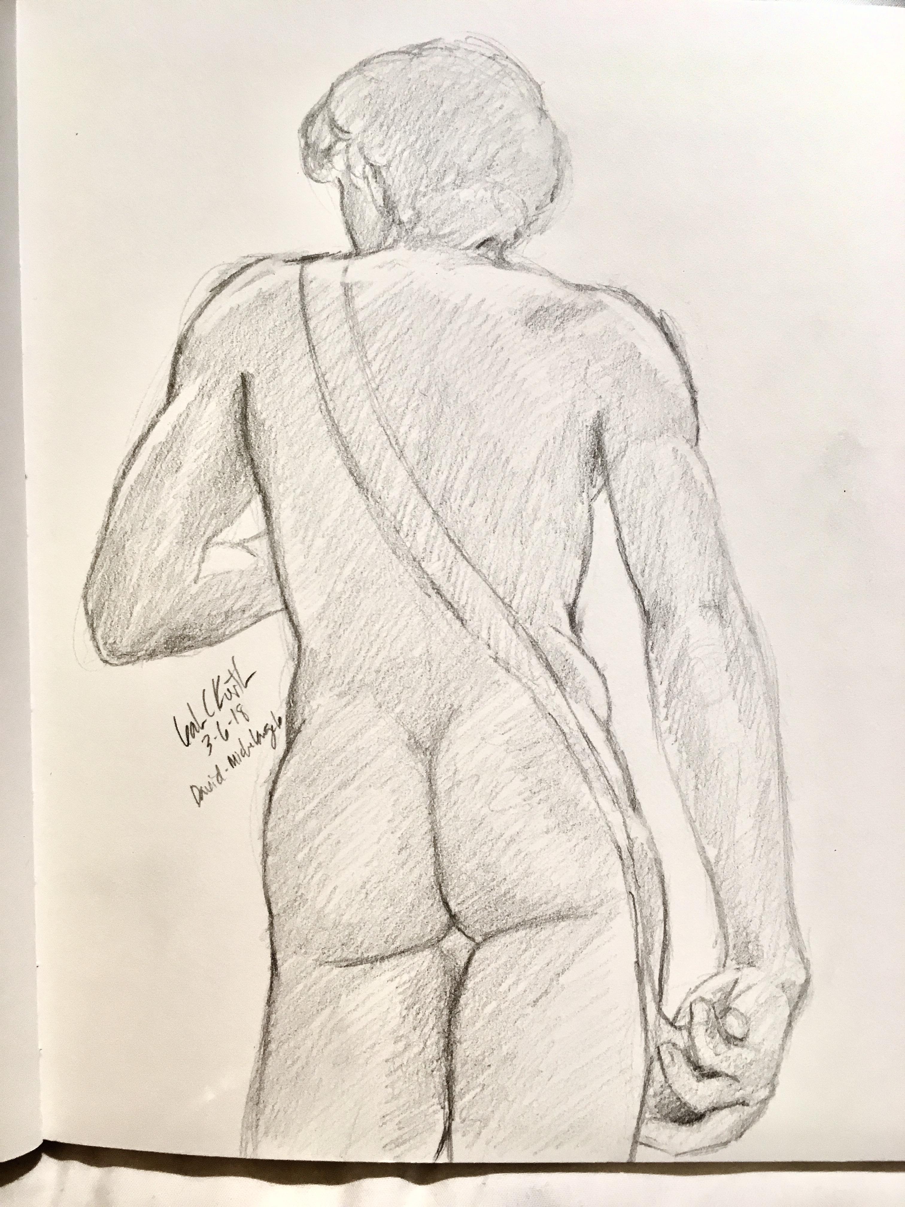 Michelangelo's David from behind