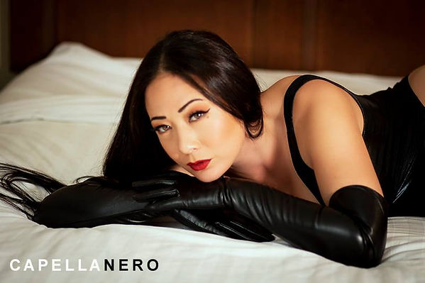 Nyssa Nevers, Nyssa, NyssaNevers.com, leather gloves, Asian, Japanese, model, Asian model, long hair, leather, red lips