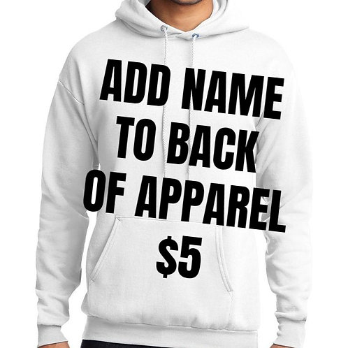 Add name to back of apparel