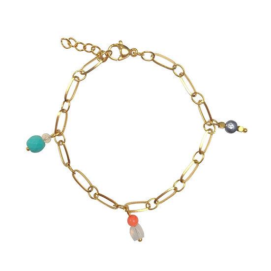 Edelsteen Hangertjes Armband - Goud