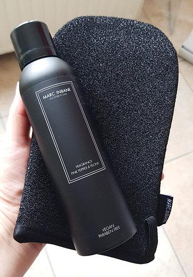 Set scrubhandschoen + luxe showerfoam