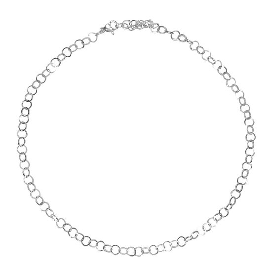 2-in-1: Ronde Schakel Ketting / Dubbele Armband  - Zilver